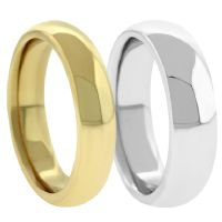 18K Plain Dome Wedding Bands