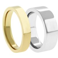18K Plain Flat Wedding Bands