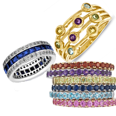 add uniqueness and personalization to a ring by using colored stones - Gemstone Wedding Rings