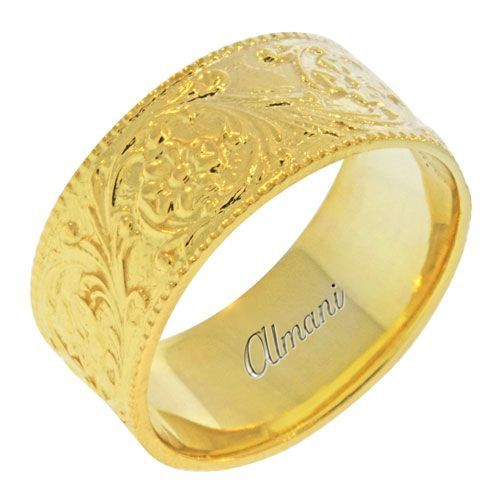 14k yellow gold 10mm antique wedding band comfort fit