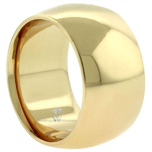 14k Yellow Gold 12mm Comfort Fit Dome Wedding Band Super Heavy Weight Wedding Bands Band Comfort Fit