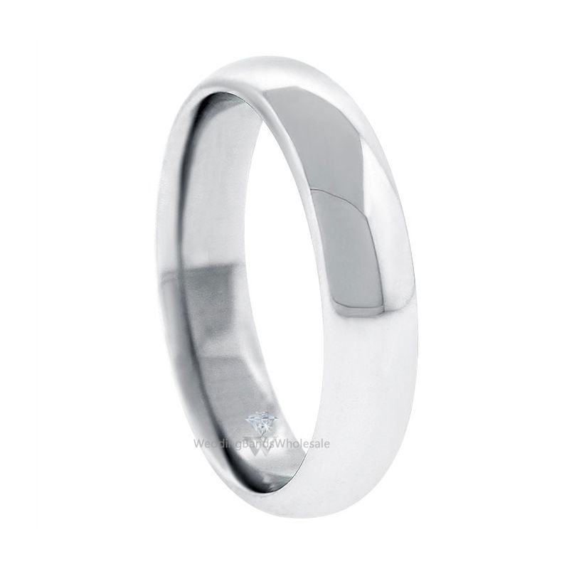 14k White Gold 5mm Comfort Fit Dome Wedding Band Heavy Weight
