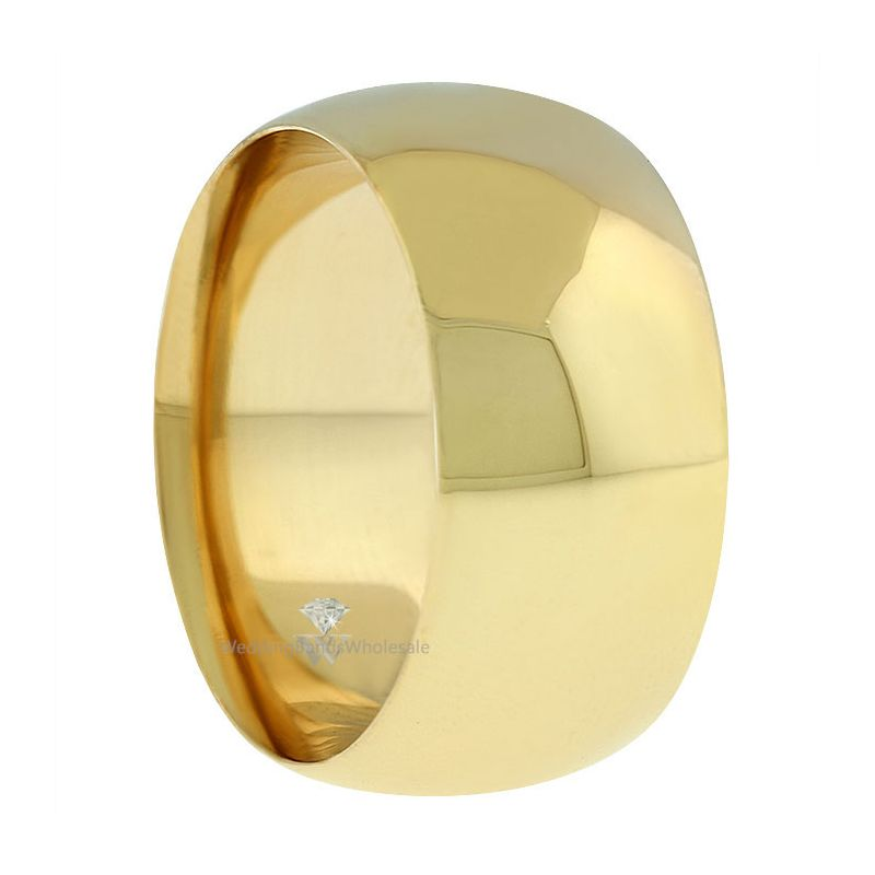 14k yellow gold 10mm comfort fit dome wedding band heavy
