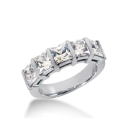 14k gold anniversary wedding ring 5 princess cut