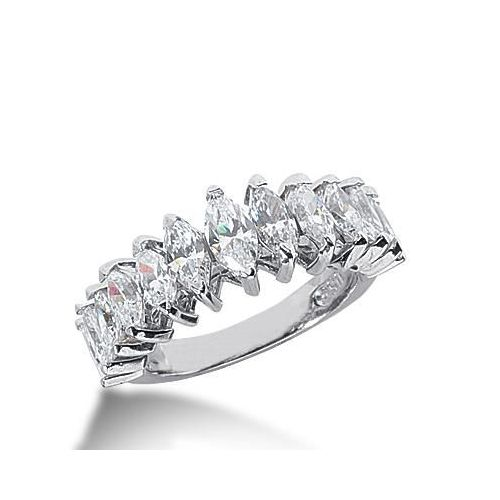 14k Gold Diamond Anniversary Wedding Ring 13 Marquise Cut Stones Total 257ctw 593WR234614k