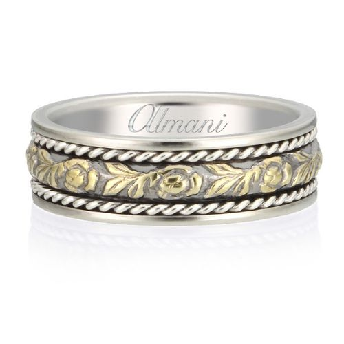 Gold 65mm Two Tone Almani Antique Wedding Band Flower Vine Design