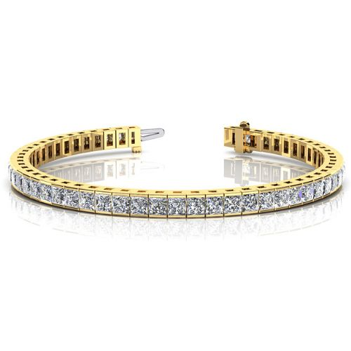 18k Yellow Gold Diamond Princess Cut Channel Tennis