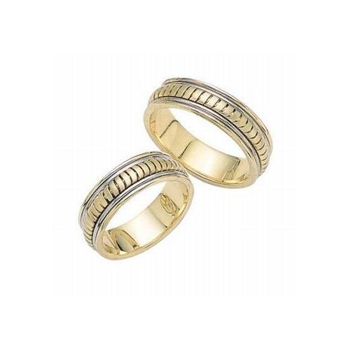 950 platinum and 18k gold his hers two tone wedding band