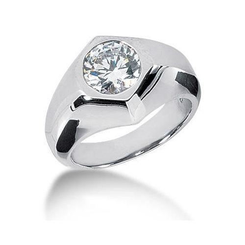 men 39 s platinum diamond ring 1 round stone ctw 120plat mdr1140
