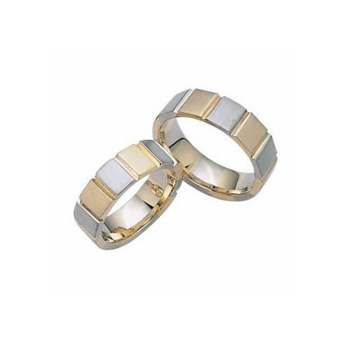 platinum and 18k gold his hers two tone wedding band set 022