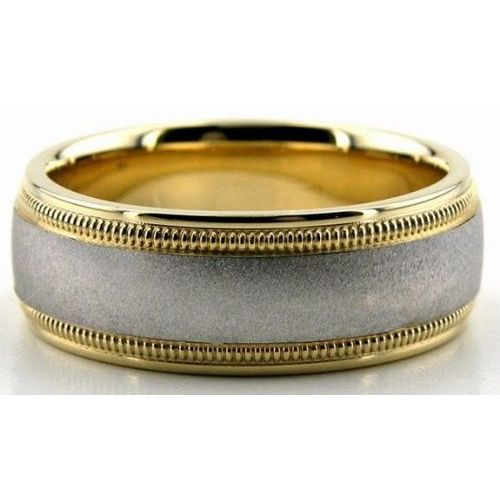 950 Platinum 18k Gold 7mm Double Milgrain Wedding Bands 229