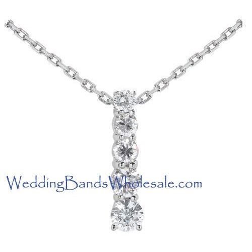 Platinum 950 diamond journey pendant 5 stone 15 ctw jpd1599plt aloadofball Images