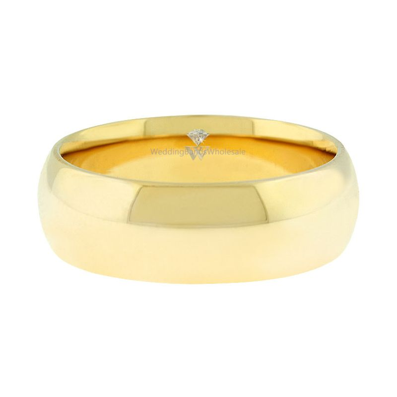14k Yellow Gold 7mm Comfort Fit Dome Wedding Band Heavy Weight