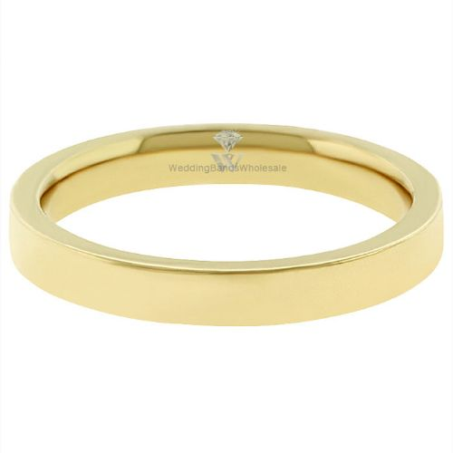 18k Yellow Gold 3mm Classic Plain Flat Wedding Band Ring