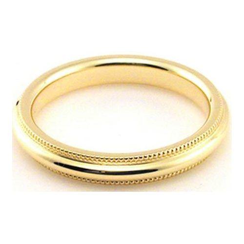 Comfort Milgrain Wedding Band 3MM Mens 18K White Gold