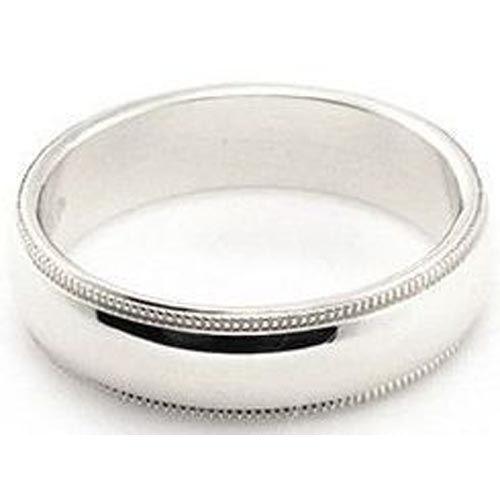 Platinum 950 5mm Comfort Fit Milgrain Wedding Band Super Heavy Weight