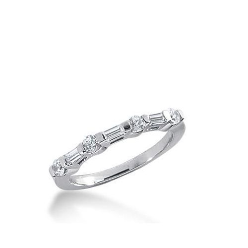 0126d7cbefe77 950 Platinum Diamond Anniversary Wedding Ring 4 Round Brilliant, 3 Straight  Baguette Diamonds 0.45ctw 255WR1116PLT