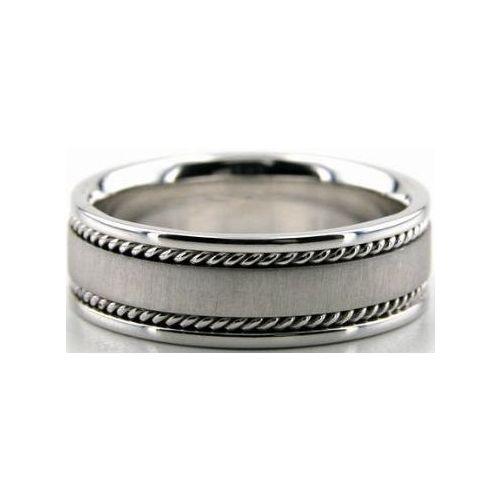 Wave Design Bands: 14k White Gold 7mm Handmade Wedding Band Wave Design 001
