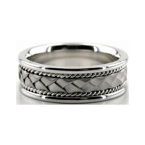 Rope Design Bands: 14k White Gold 7mm Handmade Wedding Band Braid And Rope