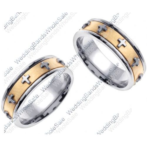 His And Her Wedding Bands.14k Gold 7mm Handmade Cross His And Hers Wedding Bands Set 170