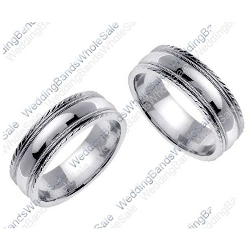 950 platinum gold 7mm handmade his and hers wedding bands