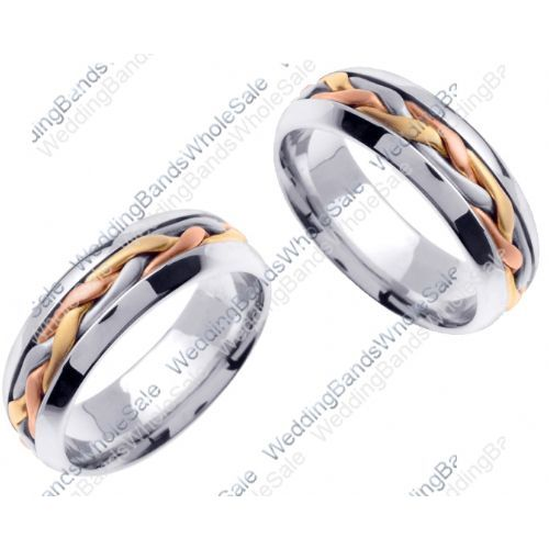 8c118bbc19fc6 14K Gold 7mm Handmade Tri-Color Braid His and Hers Wedding Bands Set 184