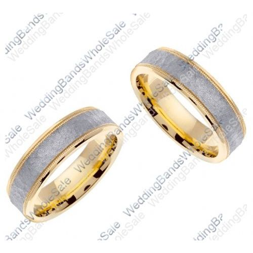 950 Platinum and 18k Gold 6mm Handmade Two Tone His Hers Wedding Rin