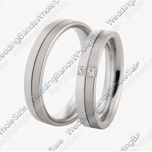 691c0a68d8487 950 Platinum His & Hers 0.10ctw Diamond Wedding Band Set 214