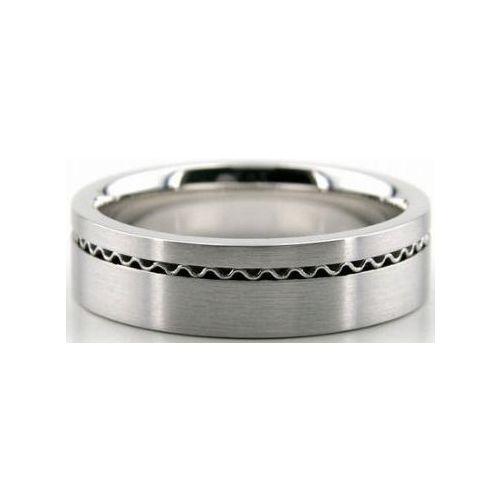 Wave Design Bands: 18k White Gold 6mm Handmade Wedding Band Wave Design 025