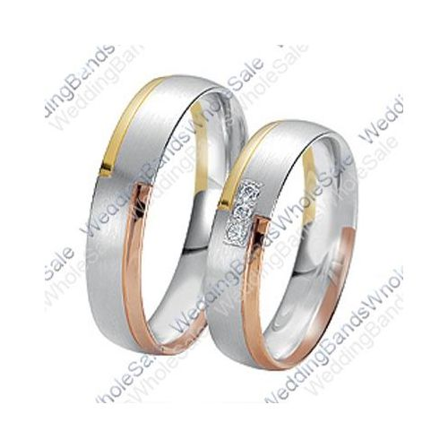 14k Gold 6mm 015ct Tri Color His And Hers Wedding Rings Set 231