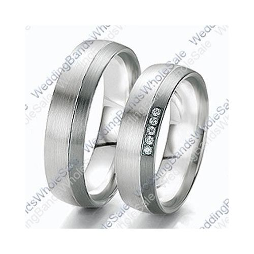 14k White Gold 6mm 0 10ct His And Hers Wedding Rings Set 236