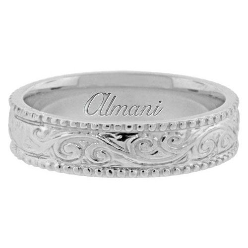 14K White Gold 55mm Antique Wedding Band Comfort Fit AWB100314KW