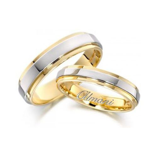 950 Platinum And 18k Yellow Gold His Hers Two Tone Wedding Band Set