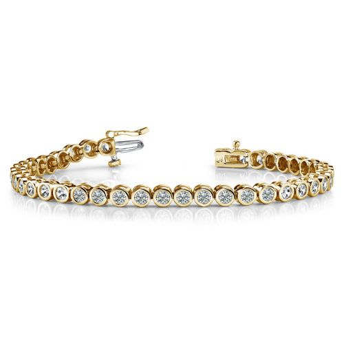 14K Yellow Gold Diamond Round Bezel Tennis Bracelet (2.82ctw)