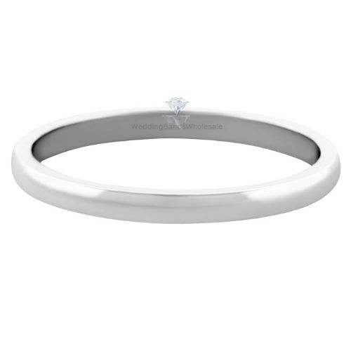 14k White Gold 2mm Dome Wedding Band Medium Weight