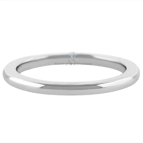 14k White Gold 2mm Comfort Fit Dome Wedding Band Super Heavy Weight