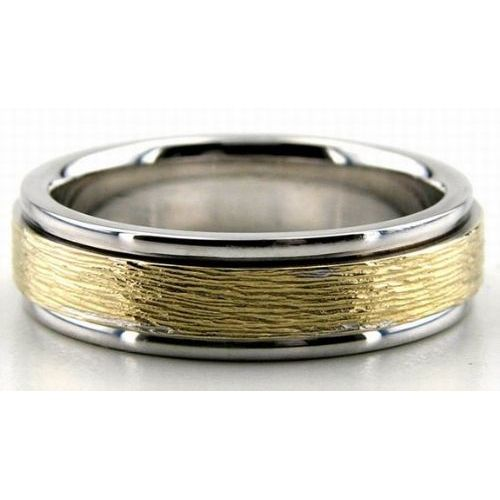 14k gold two tone 65mm rough finish wedding bands rings 201 - Two Tone Wedding Rings