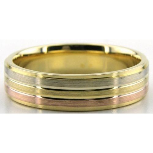 18K Tri Color Rose Yellow And White Gold 6mm Wedding Bands 232