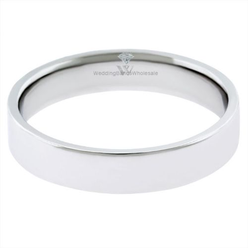 18k White Gold 3mm Flat Wedding Band Medium Weight