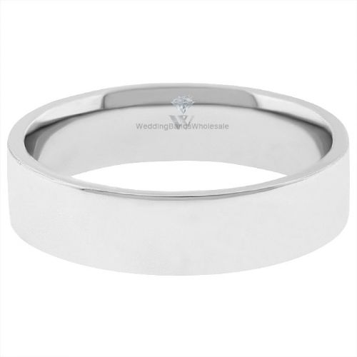 Platinum 4mm Wedding Band: Platinum 950 4mm Flat Wedding Band Medium Weight