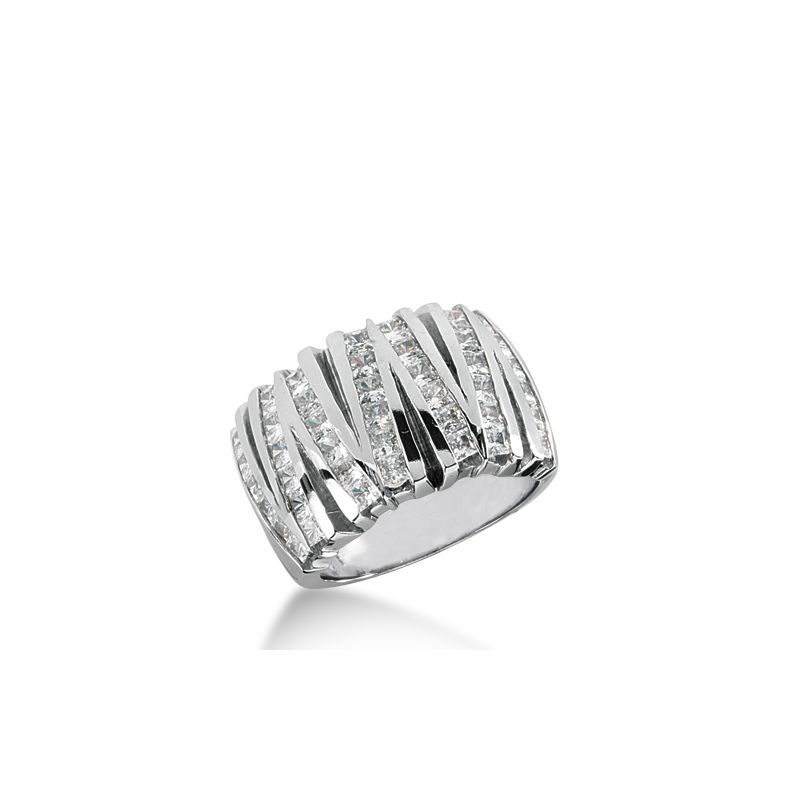 14k white gold v shaped princess cut diamond wedding band