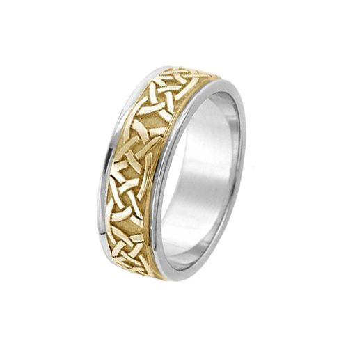 Celtic Knot Wedding Bands.14k Gold 7mm Two Tone Celtic Knot Wedding Band C4006