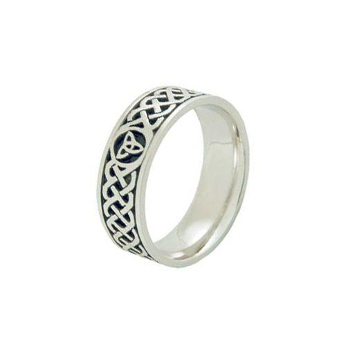 14k Gold 7mm Celtic Trinity Knot Wedding Band C4014