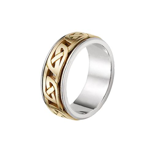 Celtic Knot Wedding Bands.18k Gold Two Tone Celtic Knot Wedding Band 4017