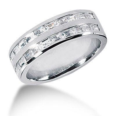 Platinum Wedding Bands For Men.Platinum 1 10 Carat Diamond Baguette Wedding Ring For Men