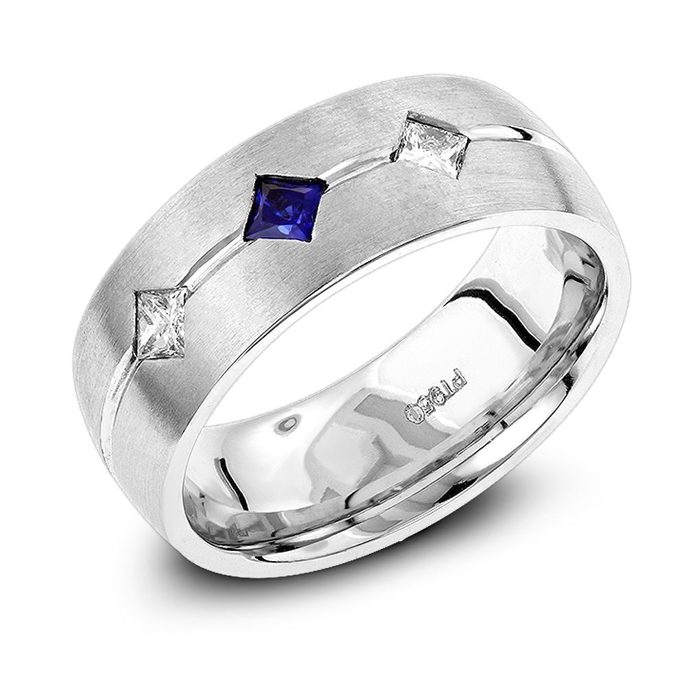 It is just a picture of Platinum, Diamond & Blue Sapphire Wedding Band for Men