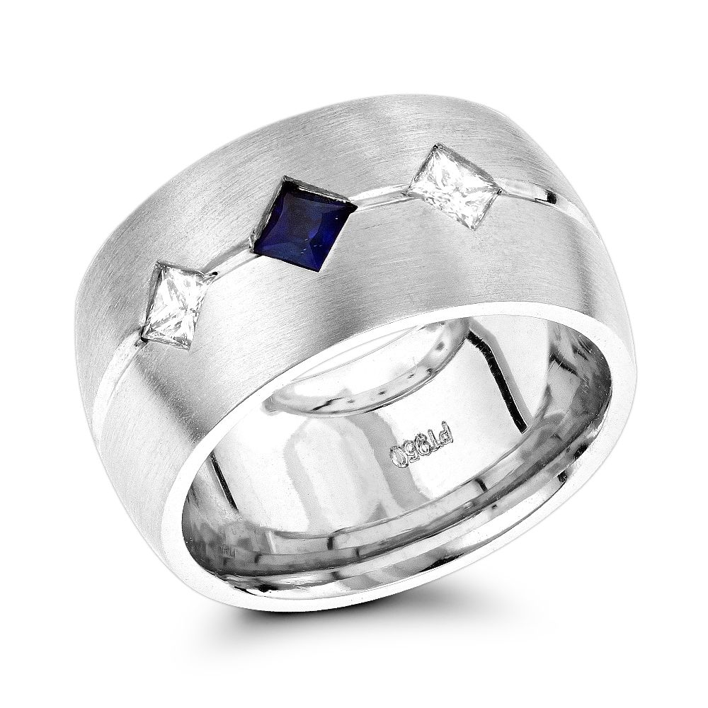 This is an image of Platinum, Diamond & Blue Sapphire Wedding Band for Women