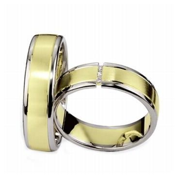 14k His & Hers Two Tone Gold 0.09 ct Diamond 083 Wedding Band Set HH08314K