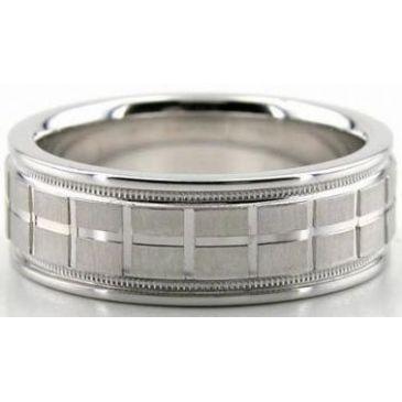 14K Gold 7mm Diamond Cut Wedding Band 610