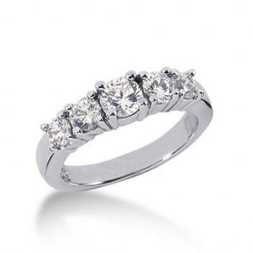 14K Gold Diamond Anniversary Wedding Ring 5 Round Brilliant Diamonds 1.05ctw 101WR194214K